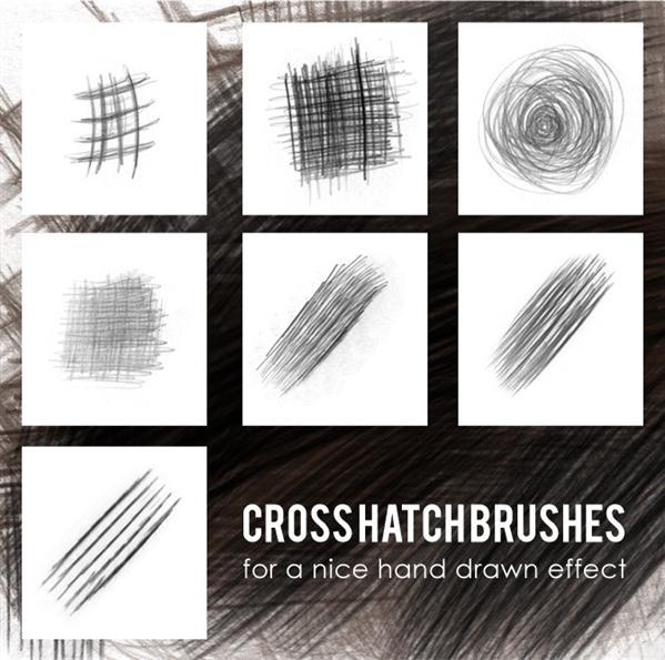 Cross hatch brushes for Photoshop