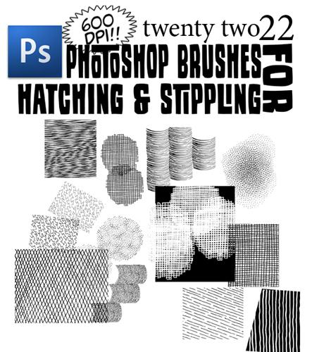 Hatching and Stippling Brushes by bozoartist photoshop resource collected by psd-dude.com from deviantart