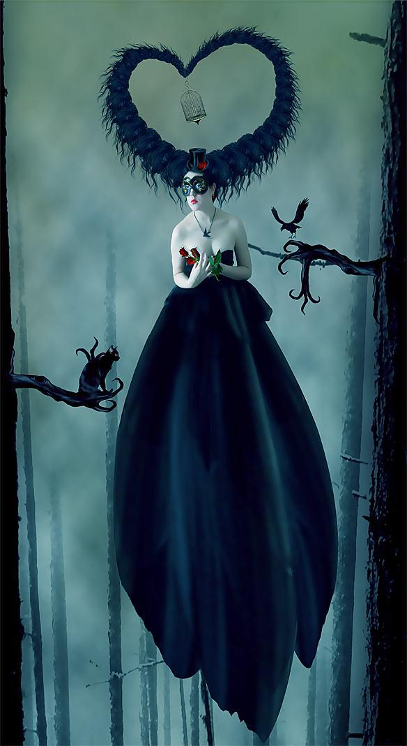 The Cat The Lady and The Crow Dark Photo Manipulation