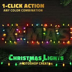 Christmas Lights Text Style Photoshop Action psd-dude.com Resources