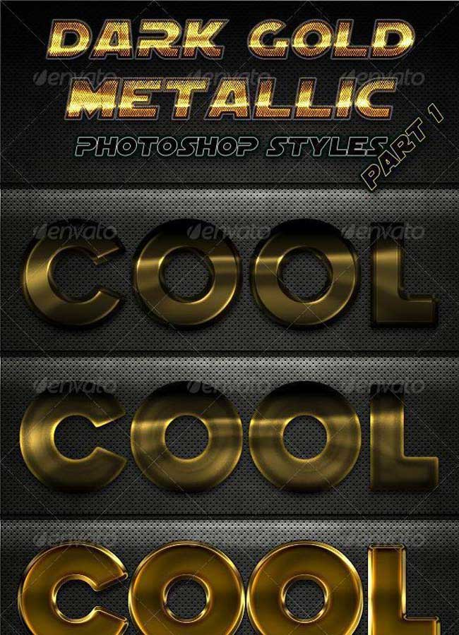 Dark Gold Metal Styles for Photoshop