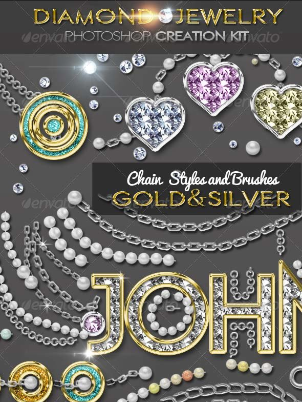 Diamond Gold Silver and Pearls Photoshop Jewelry Creator