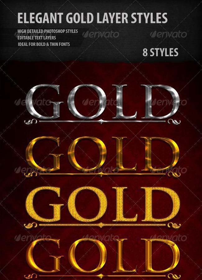 Elegant Gold and Silver Photoshop Styles