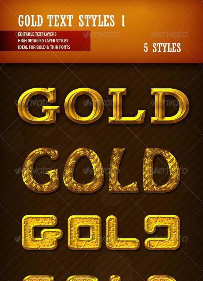 Golden and Gold Text Styles for Photoshop