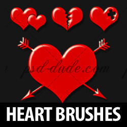 <span class='searchHighlight'>Heart</span> Photoshop Brushes for Valentine Day psd-dude.com Resources