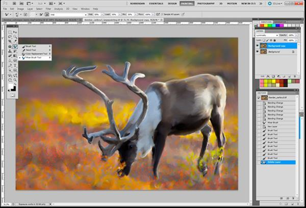 Realistic Painting Effect with Paint Stroke Brushes Photoshop Tutorial