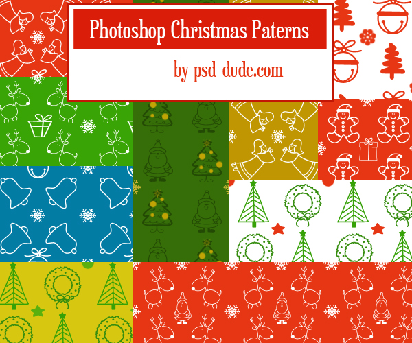 Christmas Pattern Set - photoshop resource by psd-dude.com