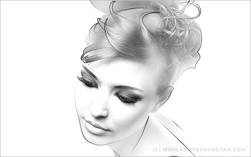 Photoshop Photo Line Art Effect : Photoshop sketch tutorial collection psddude