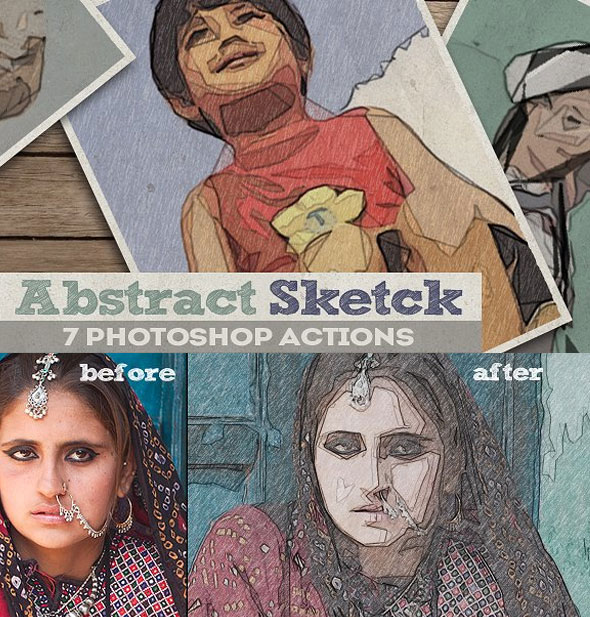 Pencil Sketch Lines Drawing Photoshop Action