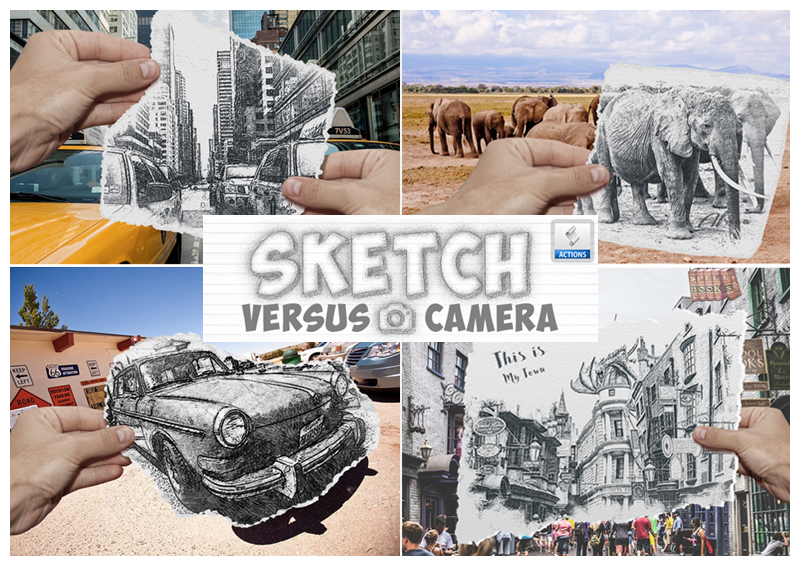 Pencil Sketch vs Camera Photo Effect Photoshop Action