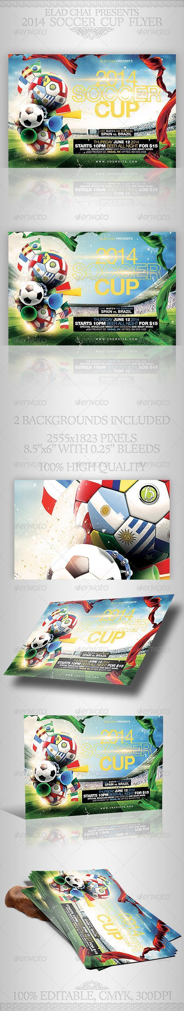 Clean Design Sport Event Flyer World Cup 2014