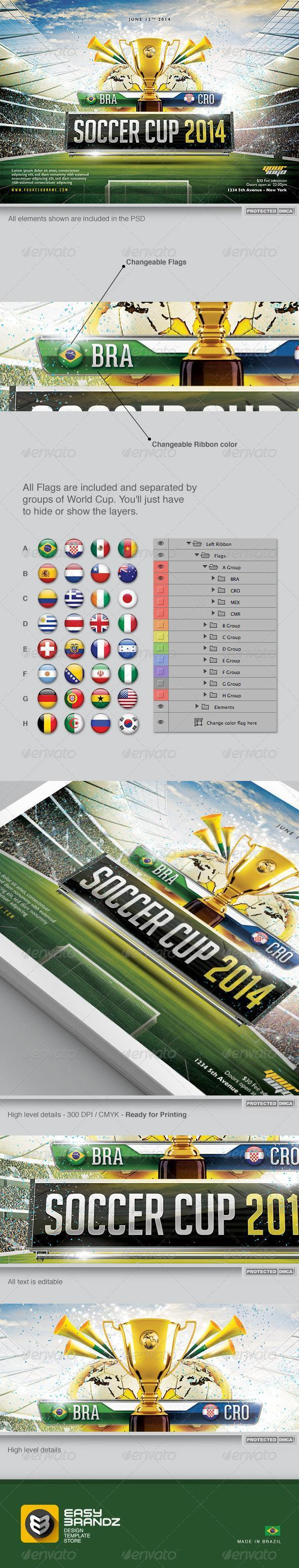 Soccer Cup 2014 Flyer Template PSD