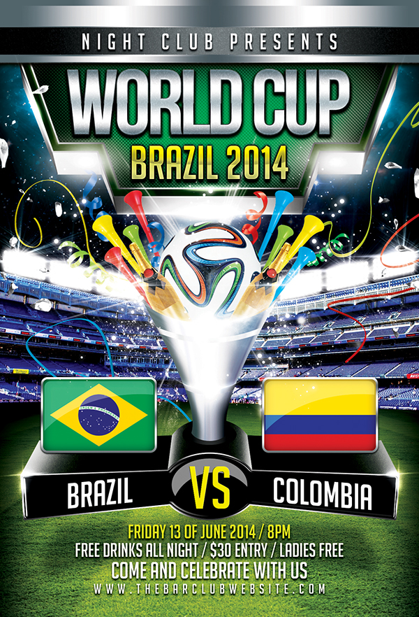 photoshop sport event flyers fifa world cup brazil 2014