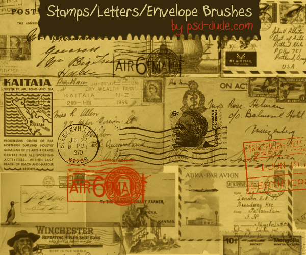 Photoshop Stamps Letters and Envelope Brushes - photoshop resource by psd-dude.com