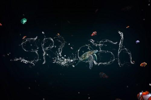Stunning liquid water text effect with splashes in Photoshop