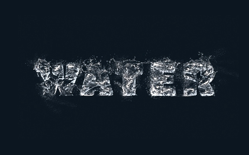 How to create a splashing water text effect
