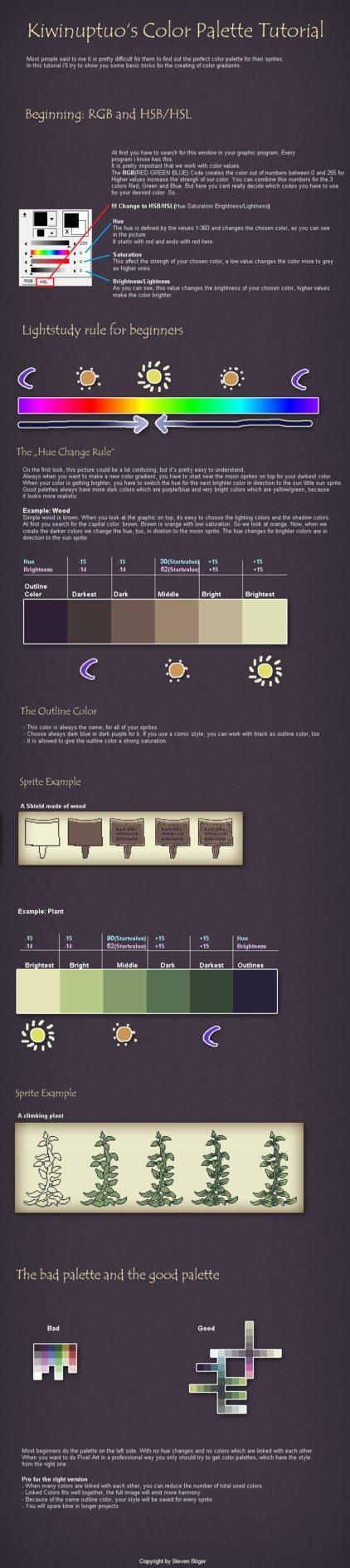 Pixel Art Tutorial Colors by Kiwinuptuo photoshop resource collected by psd-dude.com from deviantart