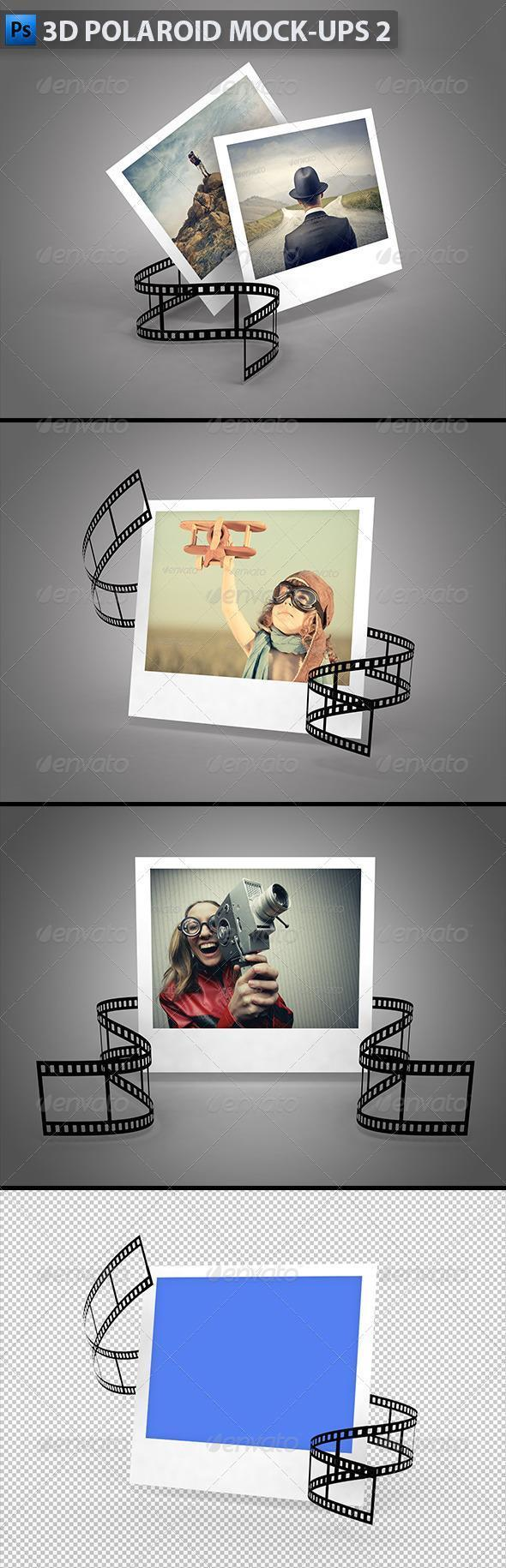 3D polaroid film strip mockups