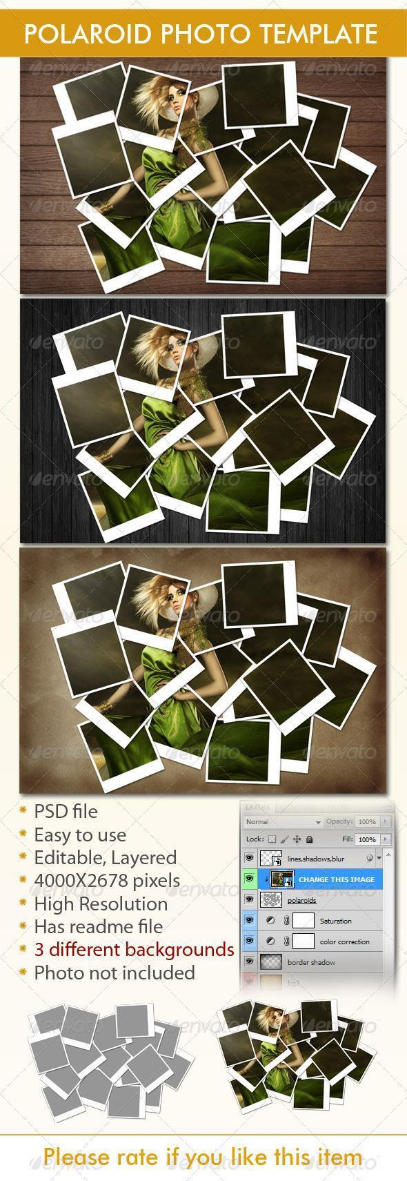 Instant Photo Frames Polaroid PSD Templates