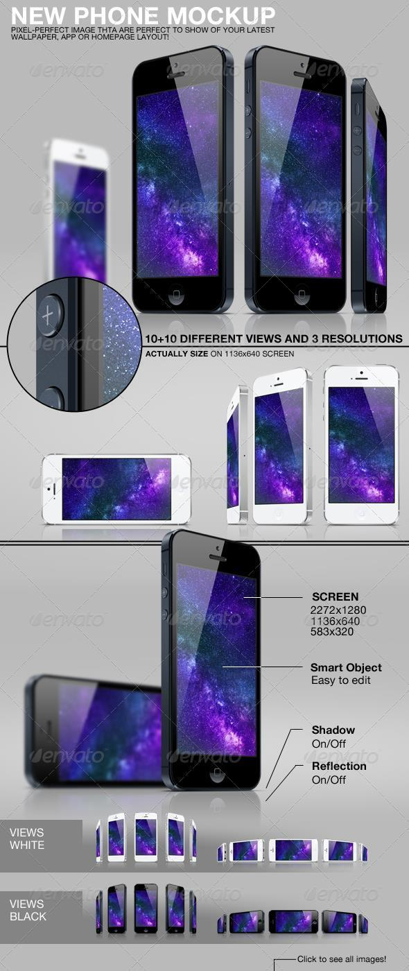 Black and White Phone Template PSD
