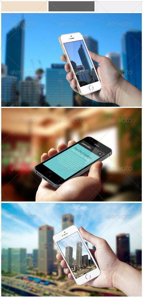 Holding Mobile Phone Template Mock-up