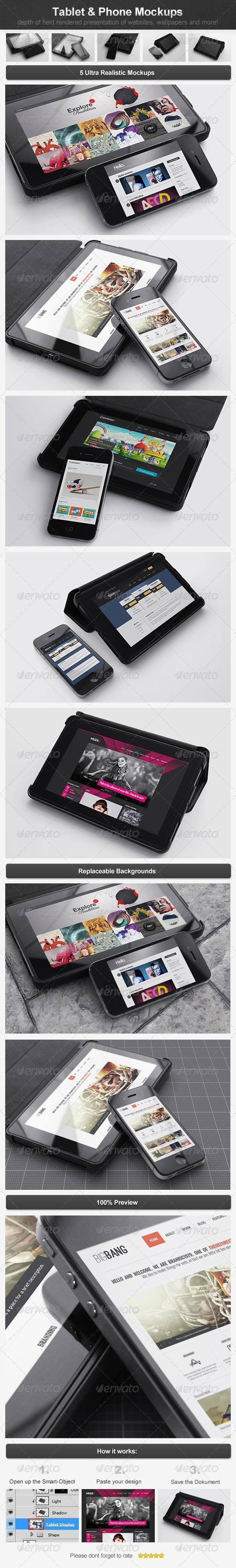 Tablet Phone PSD Mockup