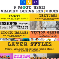 9 Most Used Design Resources Infographic psd-dude.com Resources
