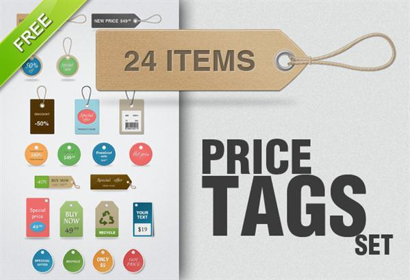 Free price tags PSD Templates