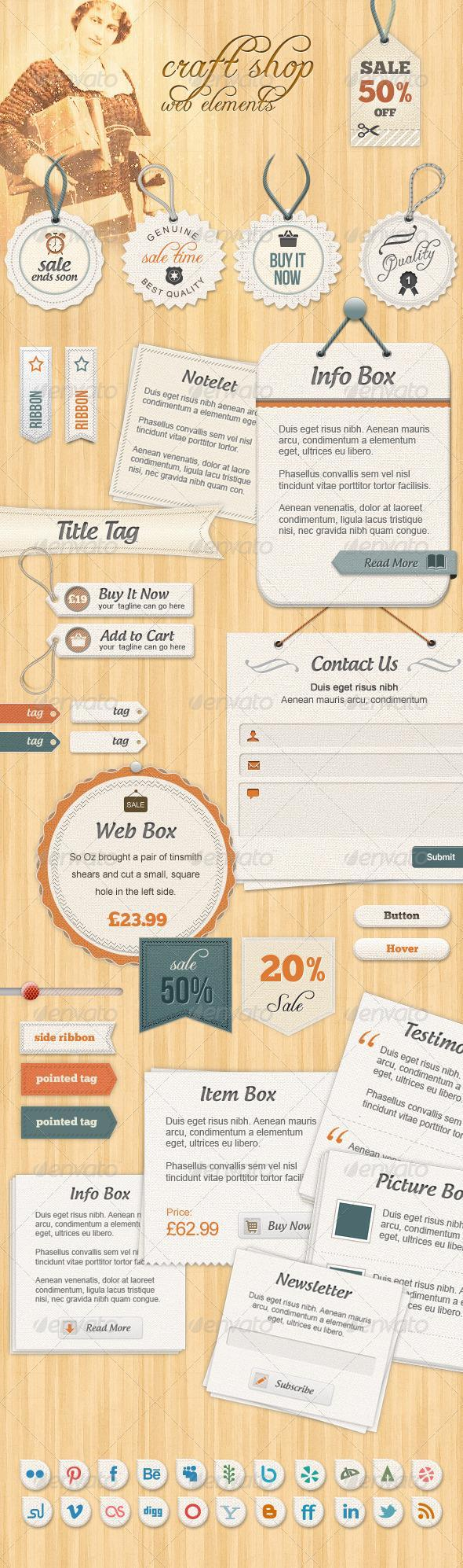 Web Elements and Price Tags PSD Templates - Premium