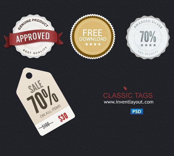 Price Tags and Badges PSD Templates