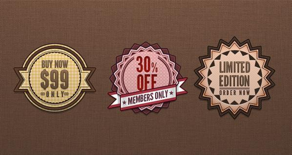 Retro Vintage Price Tags and Badges PSD File - Free