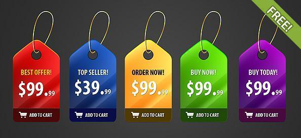 Shiny Price Tags PSD Free Files