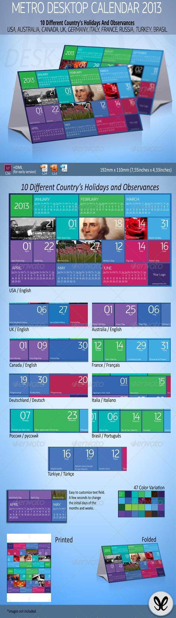 2013 Calendar Printable Template for Company