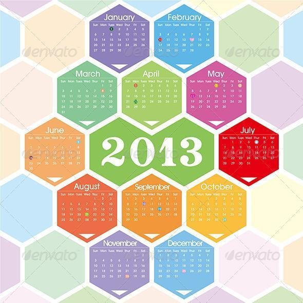 2013 Hexagonal Calendar Template