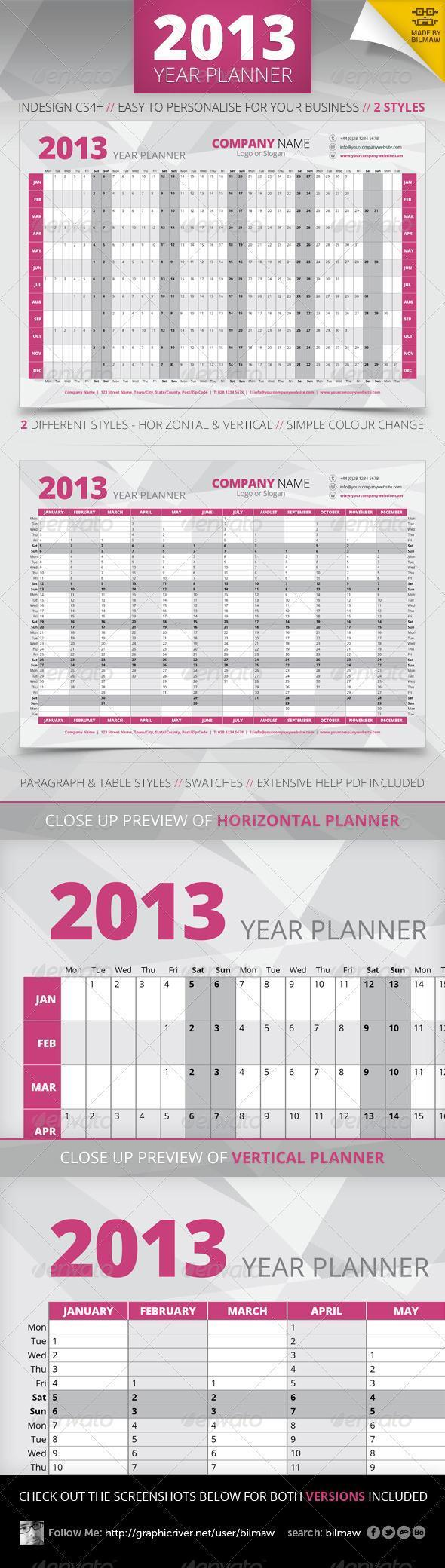 2013 Year Planner and Calendar