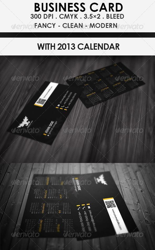 Business Card with 2013 Calendar Black Modern Template