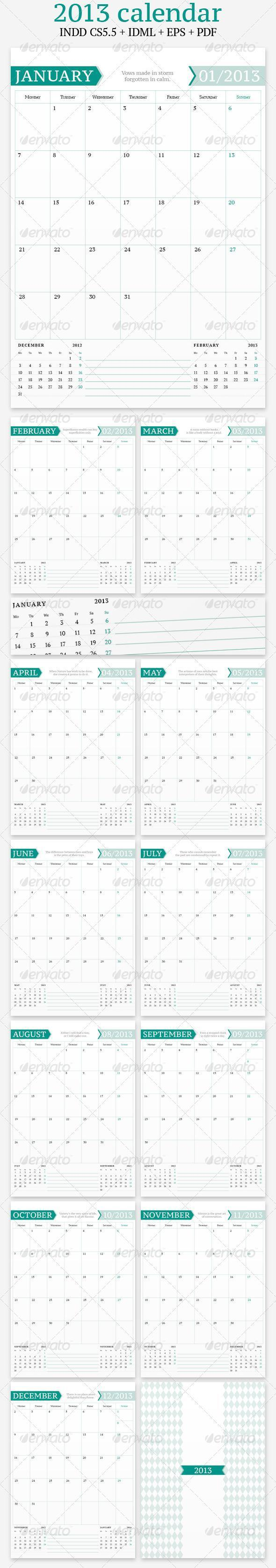 Calendar 2013 Template with Simple Clean Design