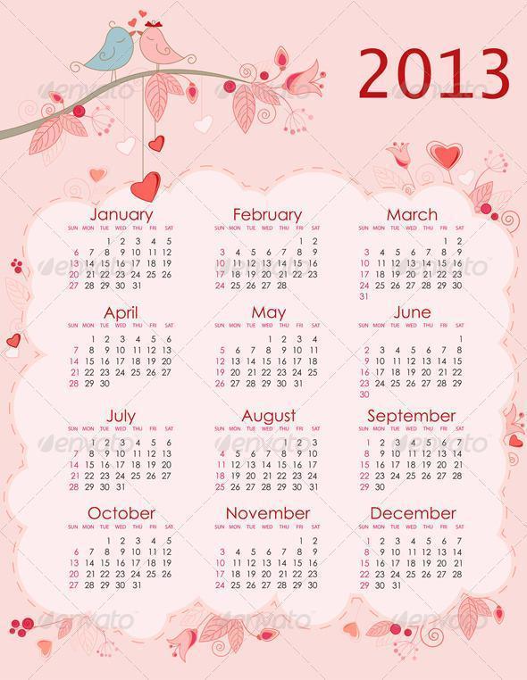 Printable 2013 Calendar Templates PSDDude