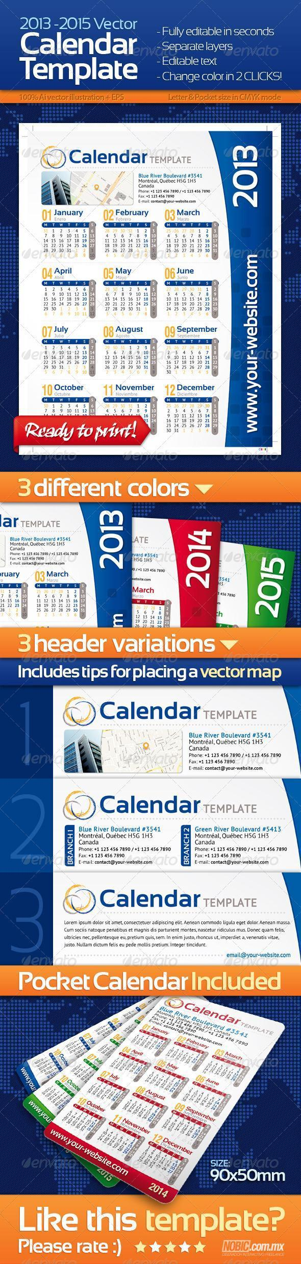 Pocket Calendar for 2013