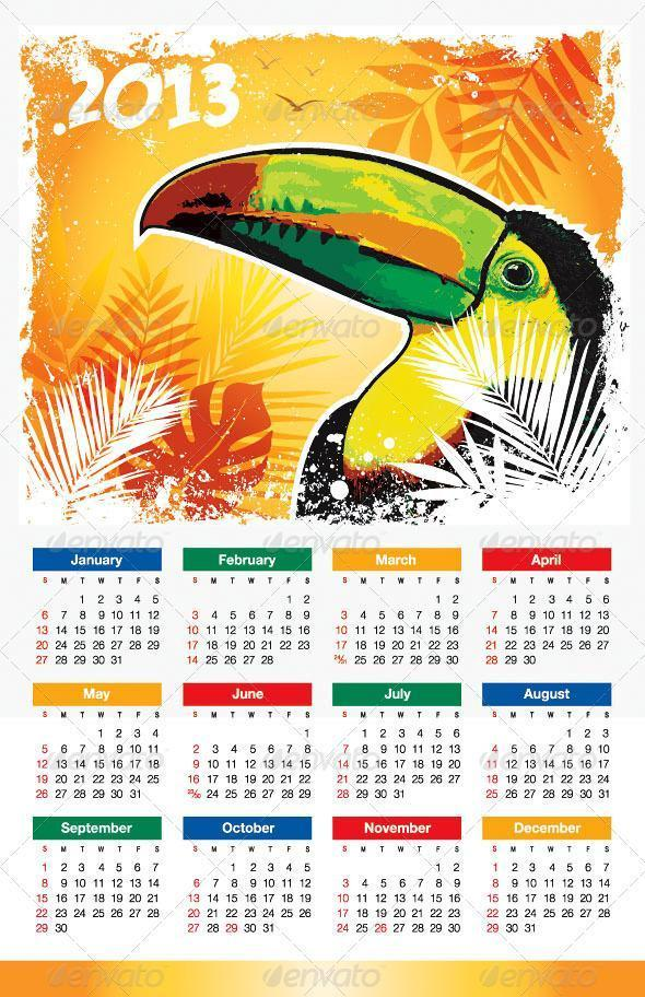 Tropical Bird 2013 Calendar Template