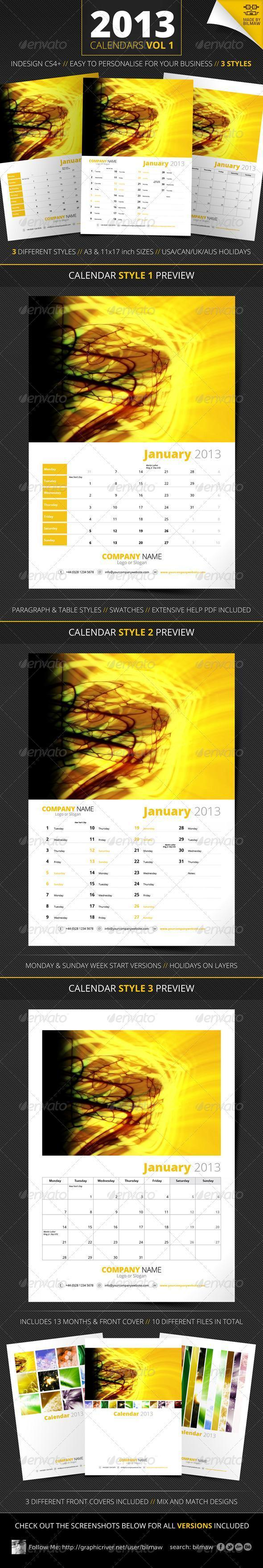 Yellow Bright 2013 Calendar Template