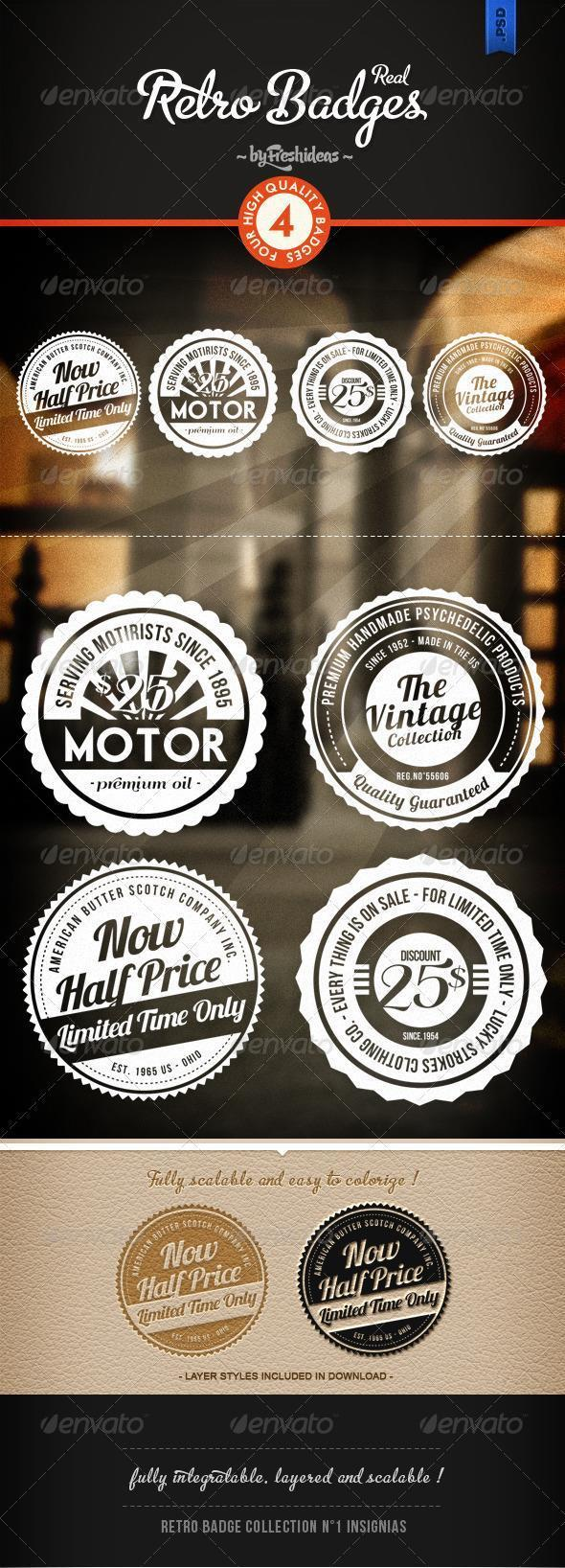 Round Retro Badges and Labels PSD Layered