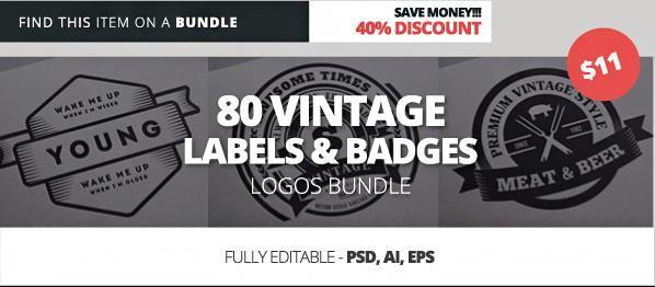 Vintage Labels Badges and Logos PSD