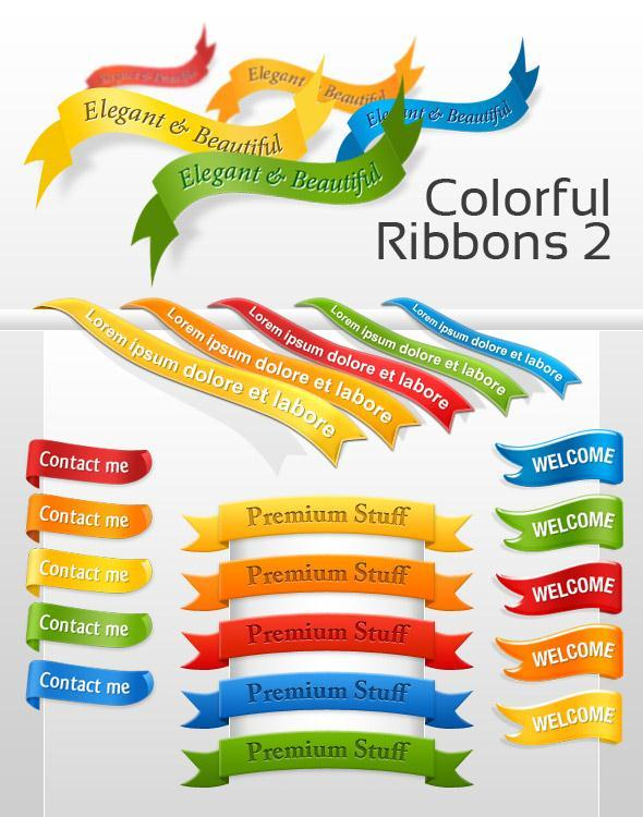 Colorful Ribbons Free PSD