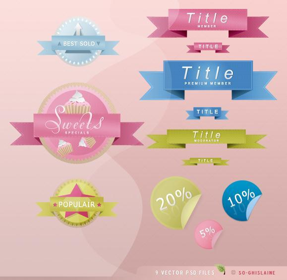 Ribbon and Badge PSD Web Elements