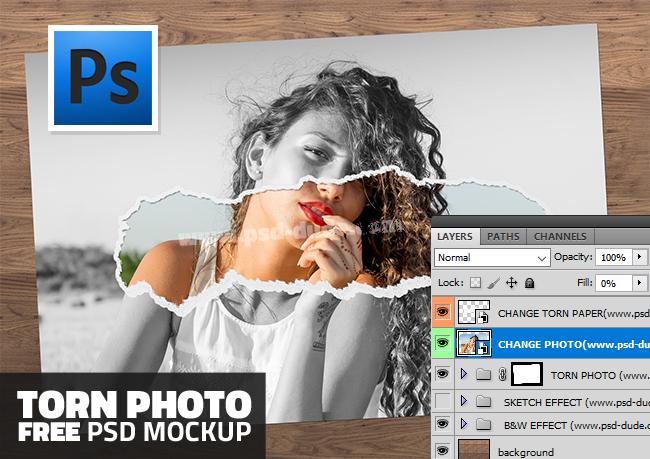 Ripped Or Torn Paper Effect Photoshop Free PSD Mockup | PSDDude