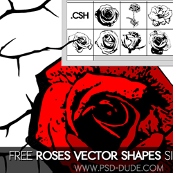 Rose Vector Flower Photoshop Custom Shapes psd-dude.com Resources