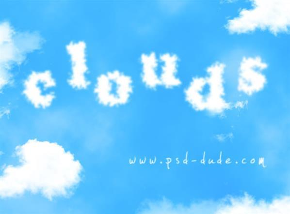 Summer Sky Clouds text in photoshop