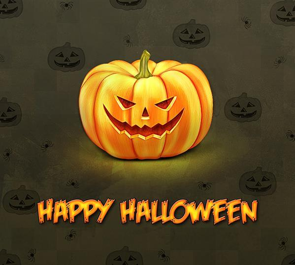 Create a glowing Halloween pumpkin illustration in Photoshop