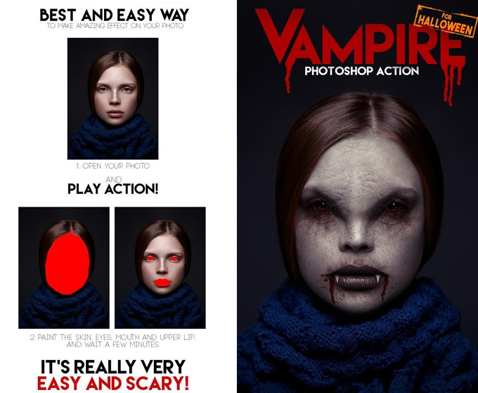 Create Vampire Portrait Effect Photoshop Action